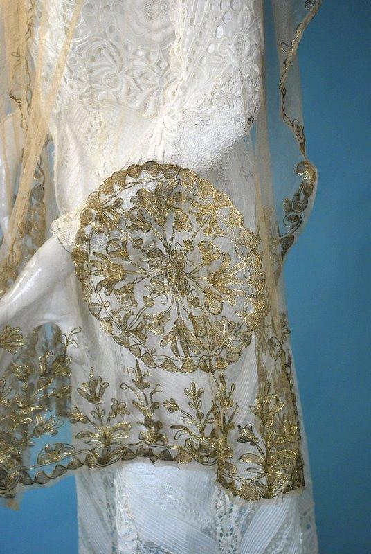 Vintage 1920s Radiant Gold Metallic Embroidered On Silk