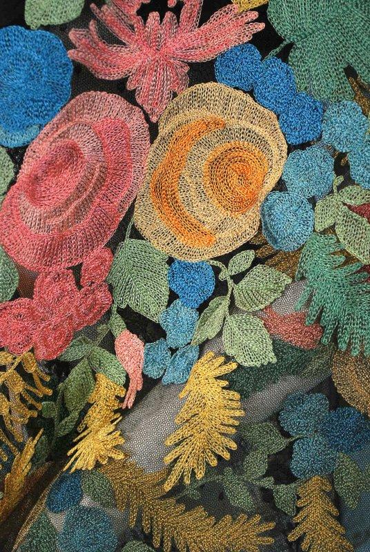 Antique Floral Pastel Embroidered Spanish Net Shawlsold