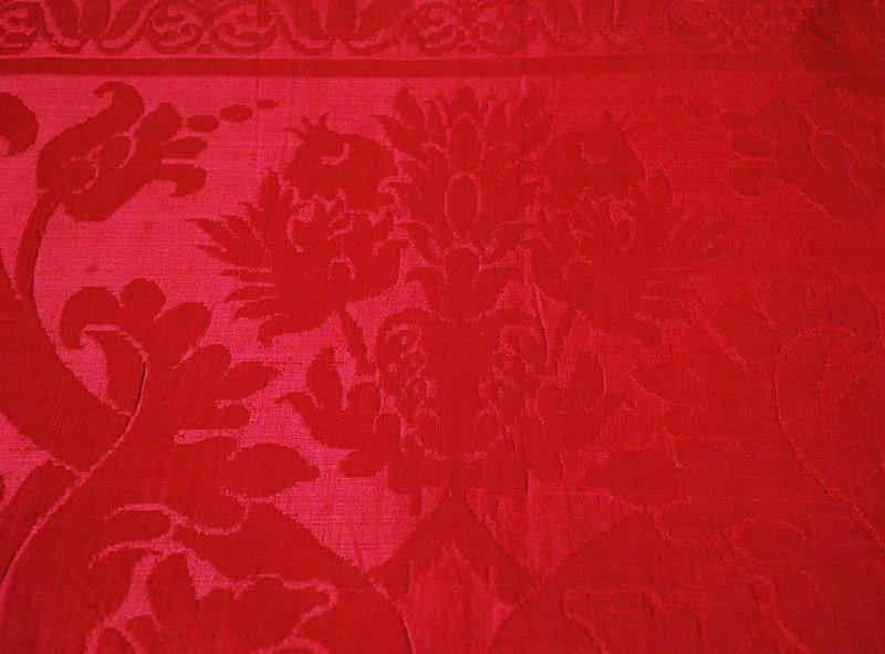 French 18th Century Crimson Silk Damask Furnishing