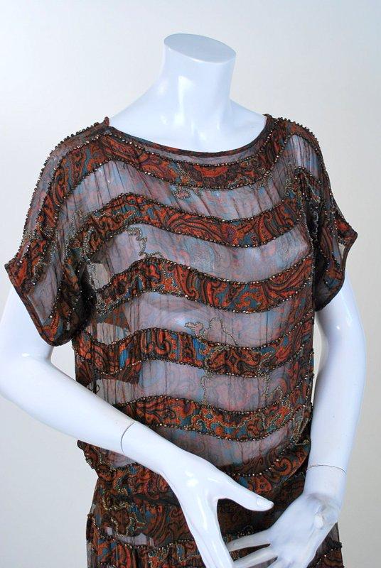 1920s Elegant Beaded Printed Silk Chiffon Sheath Dress